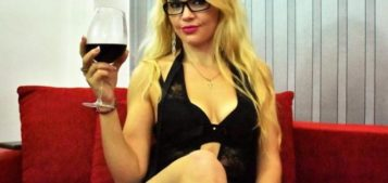Blond transsexual LalaineTS loves a good glass of wine
