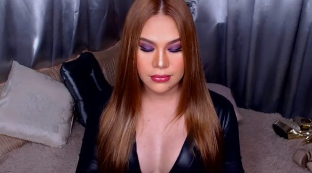 Latina shemale Cassandra in black dress